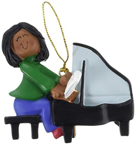 - Ornament Central OC-122-FAA Female African/American Piano Player Figurine