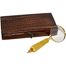 Brass Handheld Magnifier with 4 inch Premium Brass Framed Magnifying Glass with Brass Striped Crafted Handles | Office Ware Decorative Zooming Lens | for Father/Mother/Thanksgiving/Anniversary (Gold)