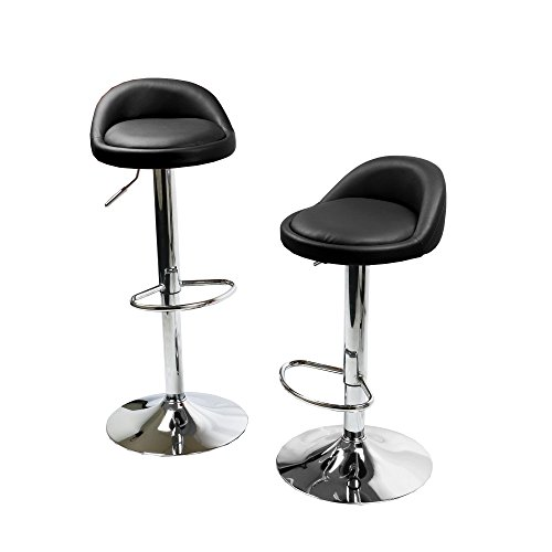 Bar Style Weight Round - MagshionSet Of 2 Black Leather Round Style Swivel Adjustable Height Barstool Chair