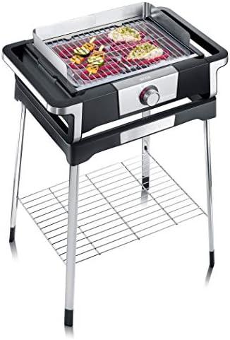 """Severin Barbecue sur Pieds """"STYLE S"""", 2500 W, Pare-Vent, Cordon d'Alimentation de 2 M, Noir/Inox, PG 8116"""