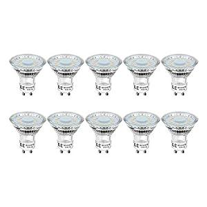 LE GU10 LED Light Bulbs, Warm White 2700K, 50W Halogen Bulb Equivalent, 4W 350lm, 120 Degree Beam Angle, Pack of 10
