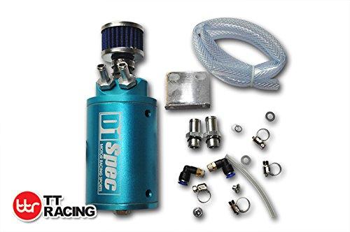 Universal Engine Oil Catch Can Reservoir Tank w/Breather Filter 0.5L Blue TT Racing