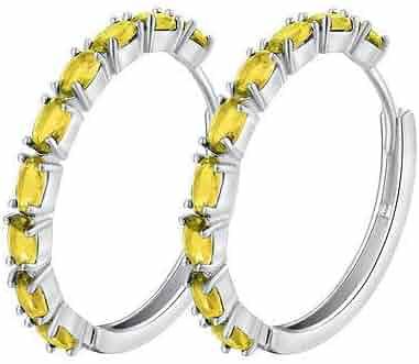8cdb3de81 FidgetKute Round earings Multicolor cz Fashion Womens White Gold Filled  Hoop Earrings Lucky Yellow
