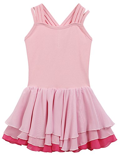 Arshiner Kids Girls' Tank Camisole Leotard Dance Ballet Tutu Dress, Pink 150