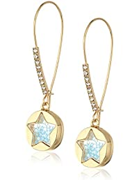 """Betsey Johnson""""Confetti"""" Shaky Faceted Stone Star Round Long Drop Earrings"""