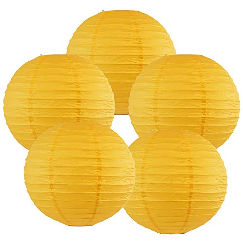 Just Artifacts 6-Inch Pineapple Yellow Chinese Japanese Paper Lanterns (Set of 5, Pineapple Yellow)]()
