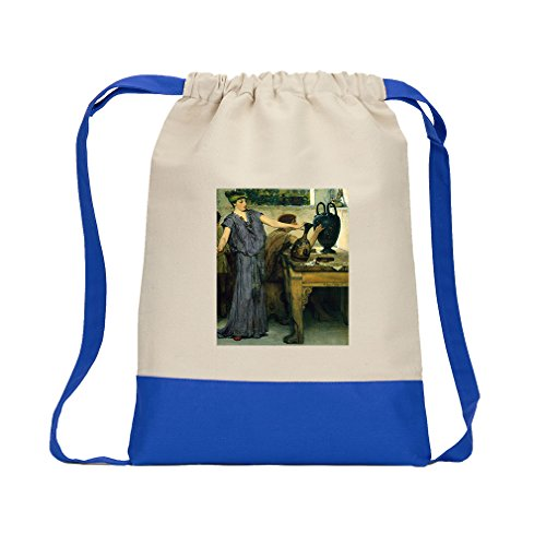 Pottery Painting (Alma Tadema) Canvas Backpack Color Drawstring - Royal (Alma Tadema Painting)