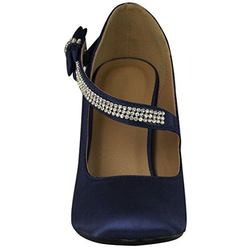 Größe Braut Satin Damen Hochzeit Damen Pumps Schuhe Party Klassische Branded Prom Heel High Marineblau qP4EOnx