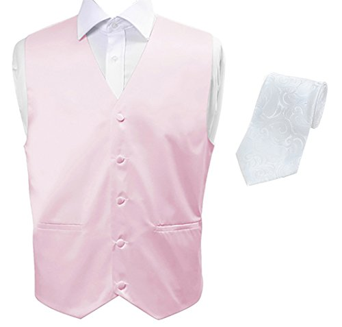Selini Men's Classic Fit Button Front Tuxedo Vest with Paisley Patterned Matching Tie, XL, Light Pink/White by Selini