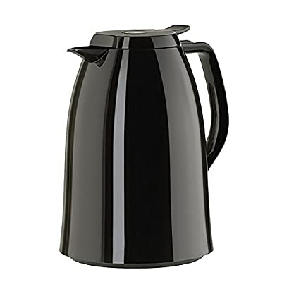 Emsa Mambo High Impact Plastic Thermal Carafe with Glass Liner, 51 oz, Black