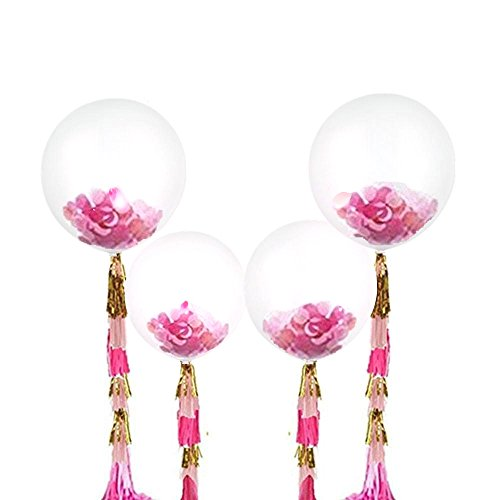 Fonder Mols 36'' Giant Confetti Balloons Tassels Gold Pink Fuchsia for Wedding Bachelorette Party Bridal Shower Decoration (35pcs)