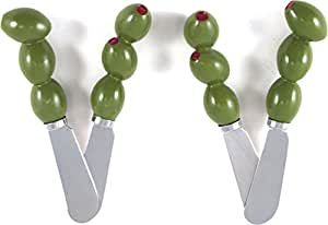 Olive Stainless Steel and Hand Painted Resin Spreader, Set of 4