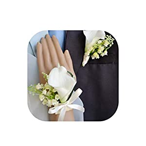 European Style Wedding Corsages Groom Boutonniere Bride Bridesmaid Hand Wrist Flower Artificial Pu Calla Lily Flowers Corsage 36