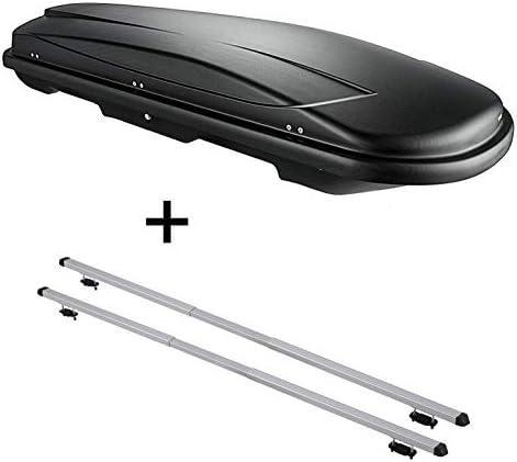VDP Dachbox VDPJUXT400 400Ltr schwarz abschließbar + Dachträger Rapid kompatibel mit Ford Galaxy I (5Türer) 99-05