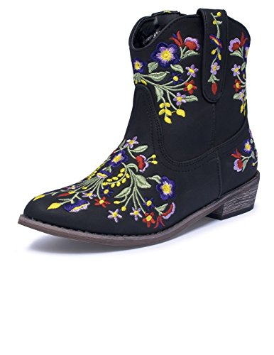 Girls' Betseyville Reece Floral Embroidered Cowboy Boots - Stone (9, - Embroidered Stone