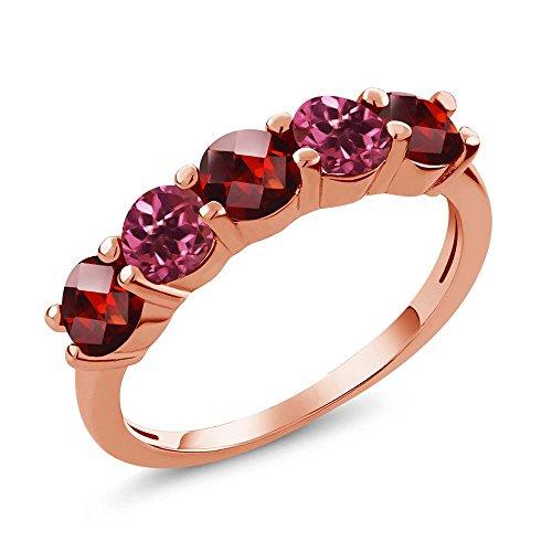 Gem Stone King 1.05 Ct Round Checkerboard Red Garnet Pink Tourmaline 18K Rose Gold Plated Silver Wedding Band Ring (Size 7)