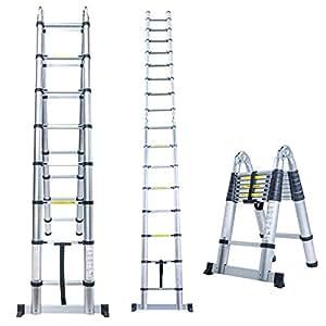 5m Aluminium Folding Telescopic Ladder Extension Multi