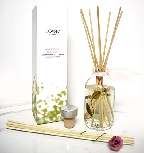 LOVSPA Japanese Peony & Blush Aromatherapy Reed Diffuser Gift Set | Made with Essential Oils & Real Botanicals! Elegant & Sophisticated Home Decor | Great Gift Idea by LOVSPA