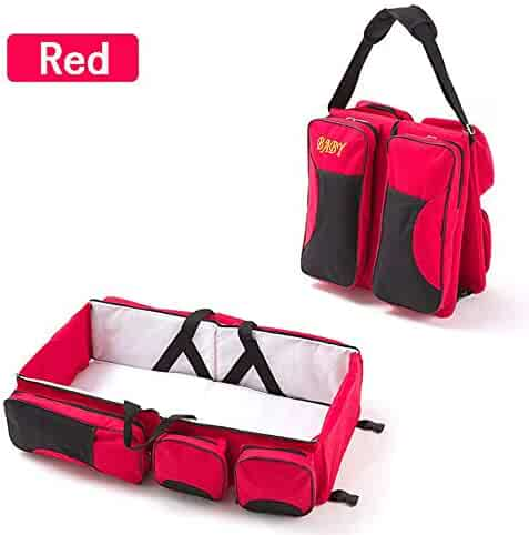ZhiCheng Folding Crib Bag Portable Multi-Function Large-Capacity Mummy Bag Out of The Portable Travel Bed (red)