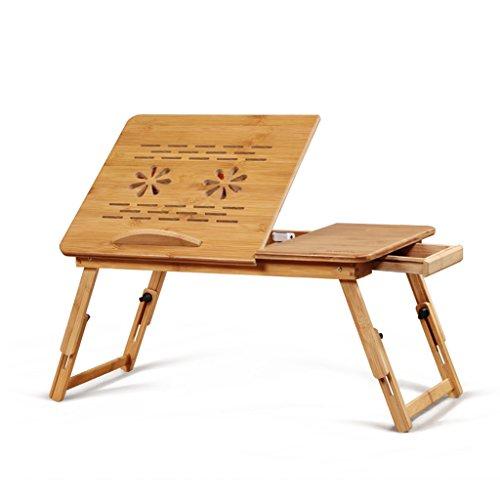 ZJ- Notebook Cooler Laptop Desk Folding Laptop Desk, Lazy Computer Desk Bed, with Pattern, with Fan, Natural Bamboo Laptop Desk, 30cm 29cm 50cm &&