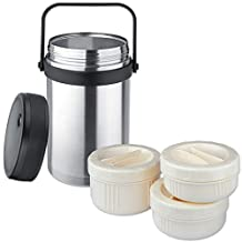Isosteel Vacuum Food Container 1.5 L, dishwasher proof, 18/8 Stainless Steel, plus 3 plastic containers - suitable for micro wave, VA-9683