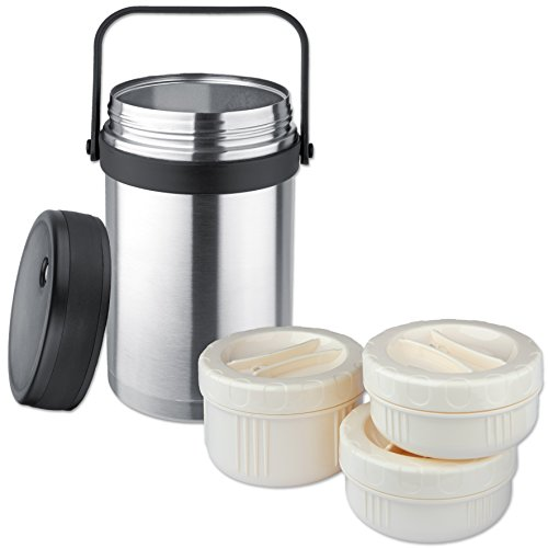 (Isosteel VA-9683 1.5 liter 51 fl. oz 18/8 Stainless Steel Double-Wall Vacuum Food Container incl. 3 plastic containers)