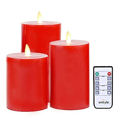 smtyle Red Flameless Candles with Remote and Timer Battery Operated with Moving Flame Wick Flickering LED Pillar Candle