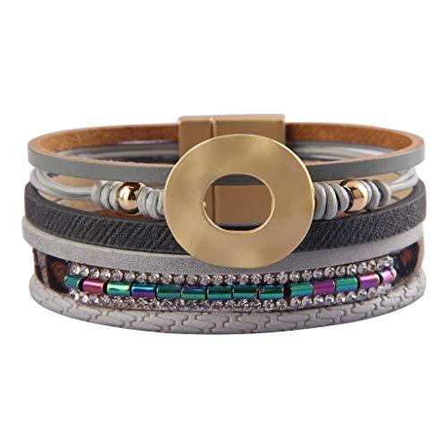 Jenia Women Leather Cuff Bracelet Multi Strand Wrap Around Bracelets Charm Crystal Boho Bracelet for Girls, Mother, Wife, Ladies Gift ()
