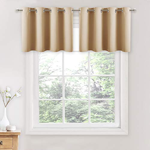 NICETOWN Kitchen Window Treatment Curtains - Short Solid Grommet Room Darkening Curtain Drapes for Living Room Window (Biscotti Beige, Pack of 2, 52 inches Wide x 18 inches Long + 1.2 inches Header)