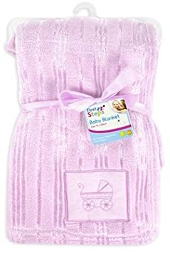 Luxury Soft Cute Baby Blanket Embroidery design 30° Washable 0months+ - Pink