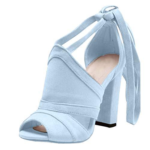 Pumps Shoes Women,Kansopa Block Heel Peep Toe Cross Lace-Up Sexy Suede Dress Pump Sandals Party Work Blue
