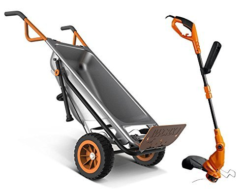 WG050 + WG119 Worx 8-in-1 Wheelbarrow AeroCart + FREE 2-in-1 Electric Trimmer / Edger