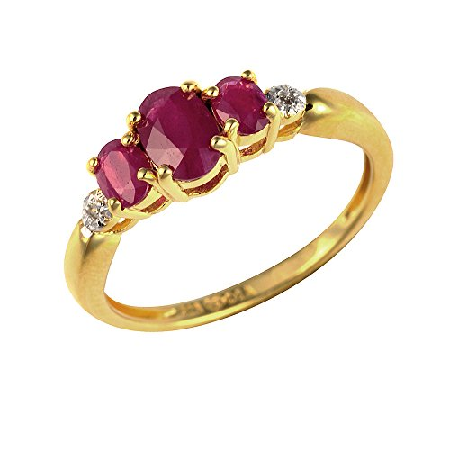 Ivy Gems Sterling Silver Gold Plate Oval Cut Ruby and Diamond Trilogy Ring...