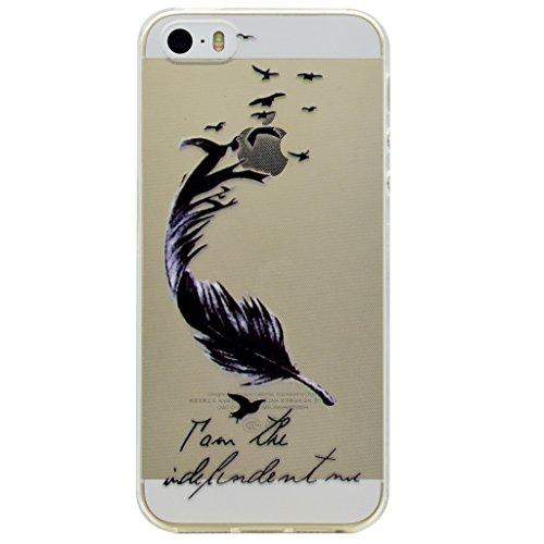 Hülle iPhone SE 5 / 5S, IJIA Ultra Dünnen Feder TPU Weich Silikon Handyhülle Schutzhülle Handyhüllen Schale Cover Case Tasche für Apple iPhone SE 5 / 5S + 24K Gold Aufkleber