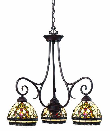 Z-Lite Z34-3 Templeton Three Light Chandelier, Metal Frame, Chestnut Bronze Finish and Multi Color Tiffany Shade of Glass Material (1 Templeton Light)