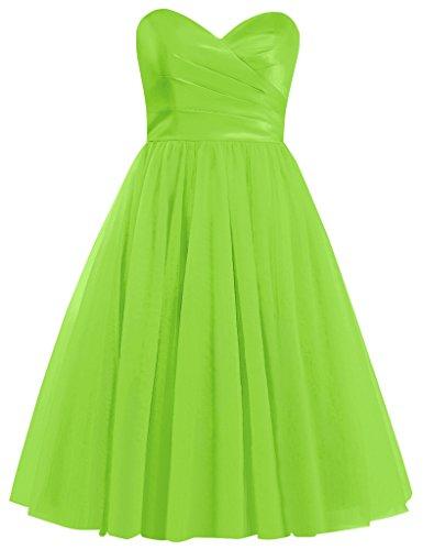 Cocktail Sweetheart Tulle Lemon Homecoming Cdress green Gowns Dresses Dress Short Bridesmaid HURndqXI