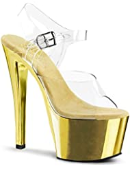 Summitfashions Womens Dazzling Gold Sandals Shoes with 7 Inch Chrome Heels and Clear Straps