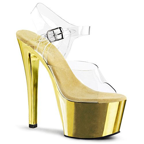 Summitfashions Womens Dazzling Gold Sandals Shoes with 7 Inch Chrome Heels and Clear Straps Size: 14