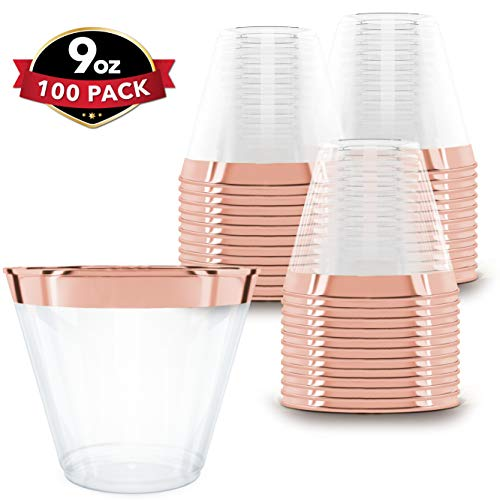 Plastic Cups For Cocktails (100 Rose Gold Plastic Cups | 9 oz | Hard Disposable Cups | Plastic Wine Cups | Plastic Cocktail Glasses | Plastic Drinking Cups | Bulk Party Cups | Wedding)