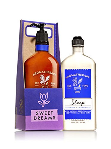 Aromatherapy Sleep - Lavender Cederwood Body Lotion (6.5 oz) and Body Wash & Foam Bath (10 oz) Gift Set in Sweet Dreams Village Carrier