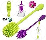 A-Brush Silicone Bottle Brush Cleaner BPA Free - FDA Cert Long Handle Baby Bottle Nipple Brush Ideal for Glass & Plastic Water Bottles Tumblers (Set of 2pcs Green/Purple)