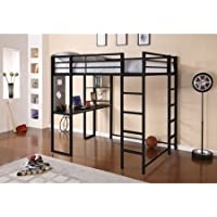 Abode Full Metal Loft Bed over Workstation Desk,Black