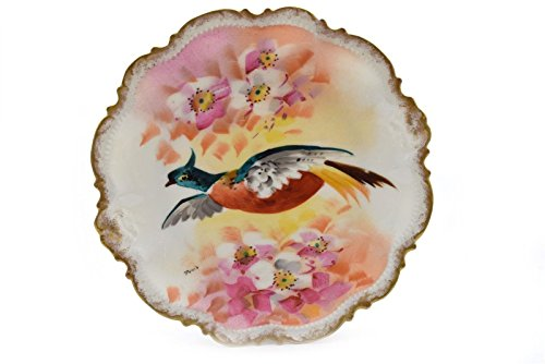 Hand Painted Coronet Limoges Bird Plate Gold Trim Signed 9.5