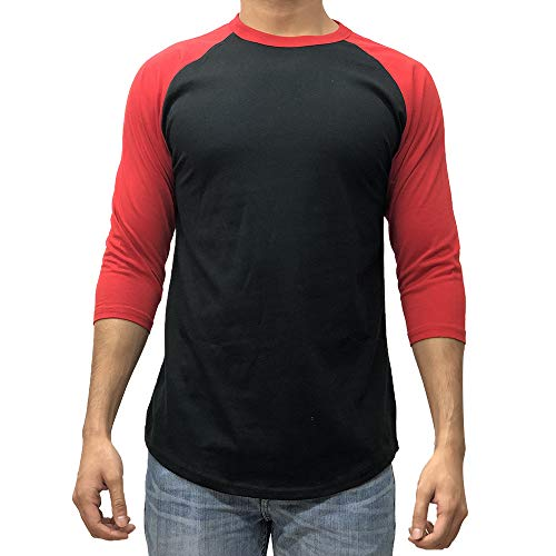 Red Raglan Sleeve - KANGORA Men's Plain Raglan Baseball Tee T-Shirt Unisex 3/4 Sleeve Casual Athletic Performance Jersey Shirt (24+ Colors) (Black Red, XX-Large)