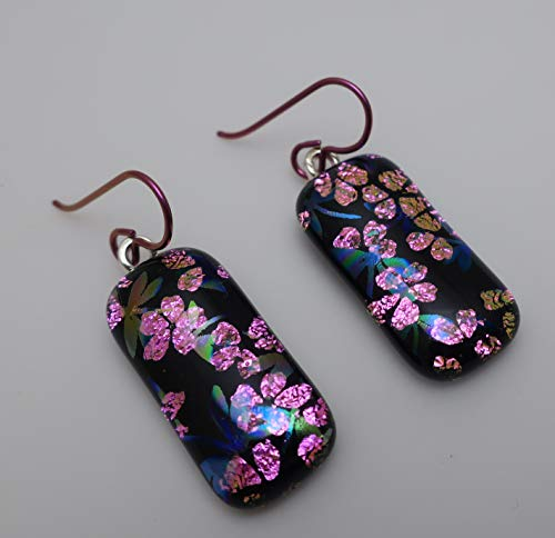 Fused dragonfly pink flower dichroic glass long dangle Hypo allergenic Niobium earrings #342