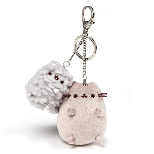 """GUND Pusheen and Stormy Plush Deluxe Keychain Clip, Gray, 4.5"""""""