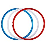 Appliances : Silicone Sealing Ring for Instant Pot Accessories, Fits 5 or 6 Quart Models, Red, Blue and Common Transparent White, Sweet and Savory Edition, Pack of 3