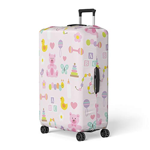Pinbeam Luggage Cover Duck Baby Girl Pattern on Pink Infant Bear Travel Suitcase Cover Protector Baggage Case Fits 18-22 - Rattle Duckie
