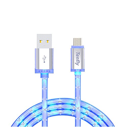 Tenfly Premium LED Glow in Dark High Speed USB 2.0 A Male to Micro USB B Cables Charge & Sync Cords for Android (Android*1 pack)