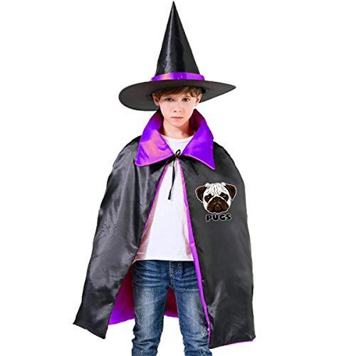 Halloween Children Costume Cute Pugs Wizard Witch Cloak Cape Robe And Hat Set